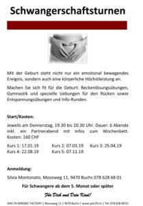 Schwangerschaftsturnen @ JAM 29 AEROBIC FACTORY | Buchs | Sankt Gallen | Schweiz