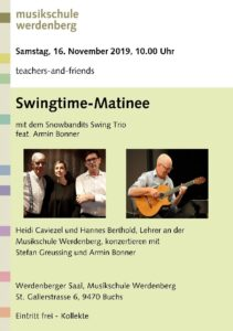 Swingtime-Matinee @ Musikschule Werdenberg | Buchs | Sankt Gallen | Schweiz
